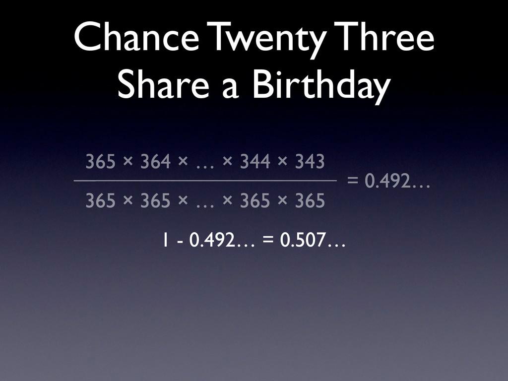 Chance Twenty Three Share a Birthday 365 × 364 ...