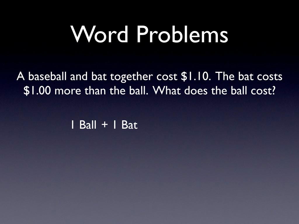 Word Problems 1 Ball + 1 Bat A baseball and bat...