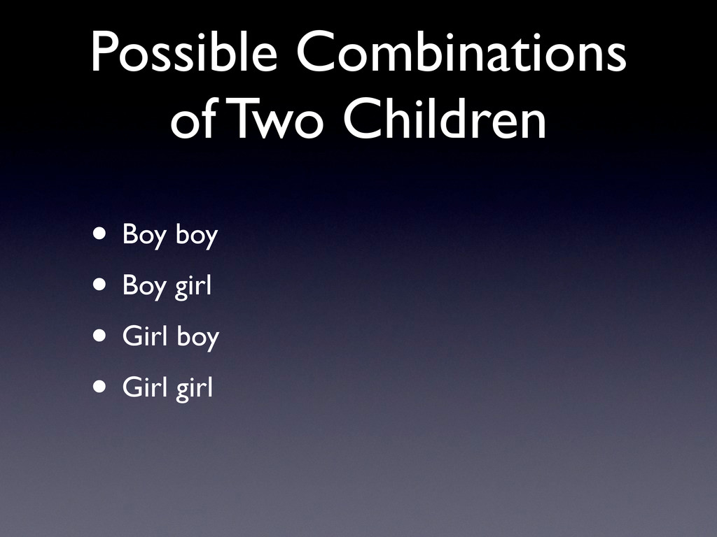Possible Combinations of Two Children • Boy boy...