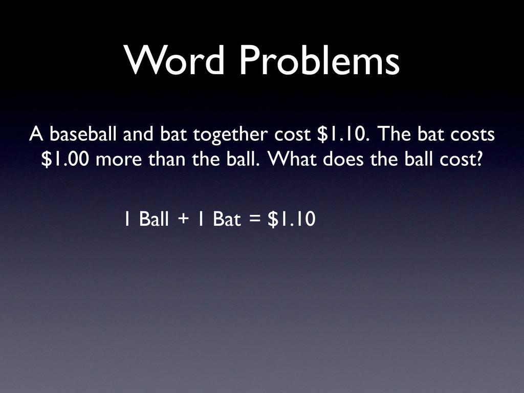 Word Problems = $1.10 1 Ball + 1 Bat A baseball...