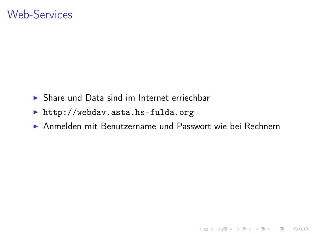 Web-Services Share und Data sind im Internet er...
