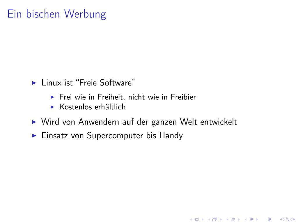 """Ein bischen Werbung Linux ist """"Freie Software"""" ..."""