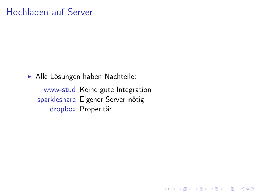 Hochladen auf Server Alle Lösungen haben Nachte...