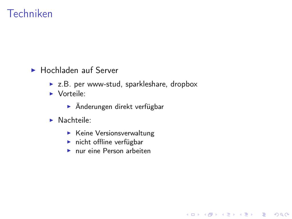 Techniken Hochladen auf Server z.B. per www-stu...