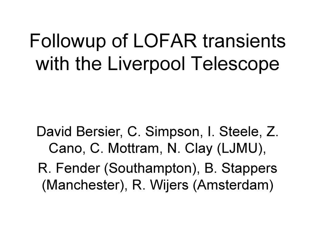 Followup of LOFAR transients with the Liverpool...