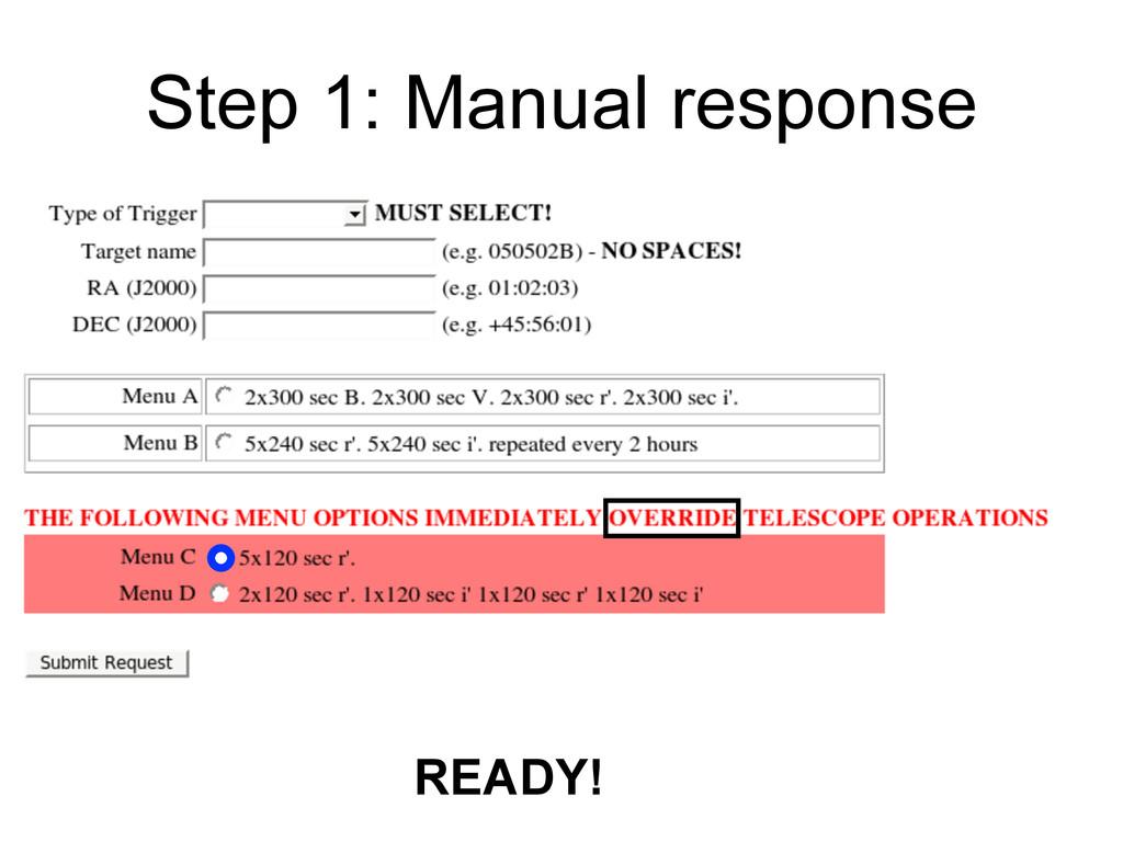 Step 1: Manual response READY!