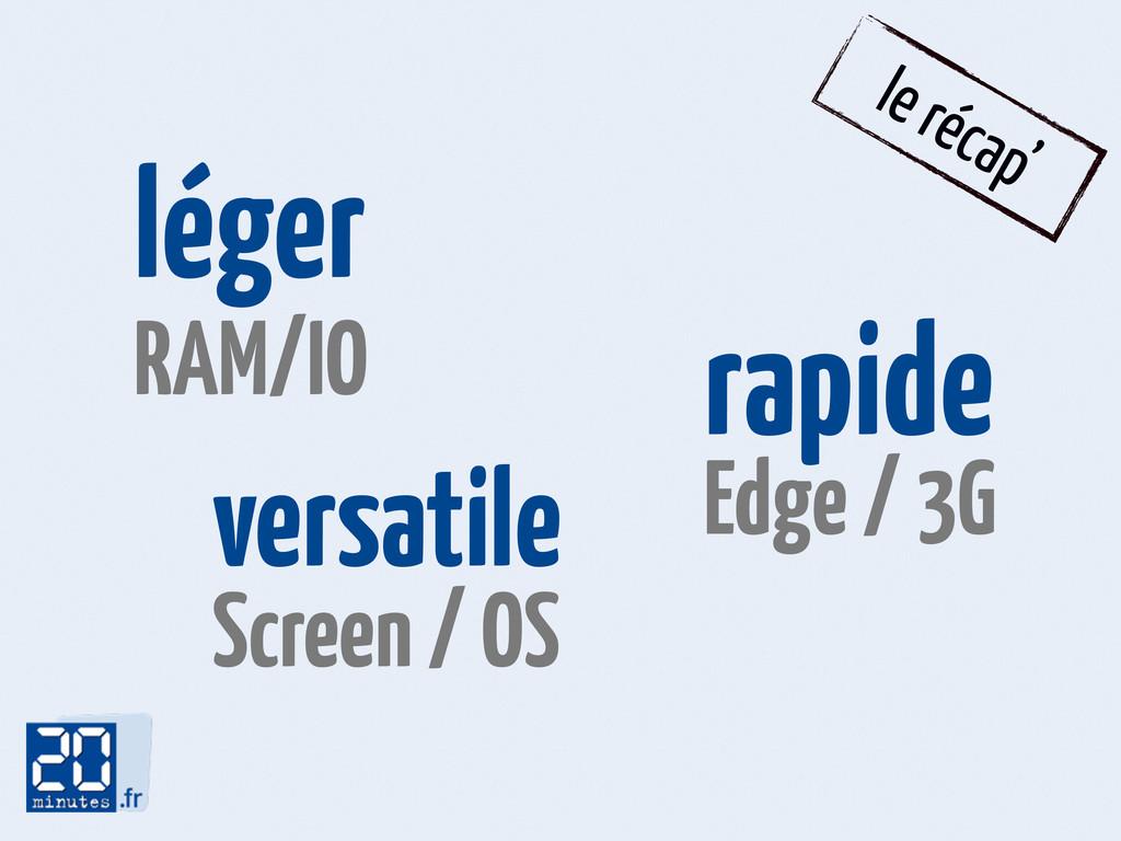 le récap' léger RAM/IO rapide Edge / 3G versati...