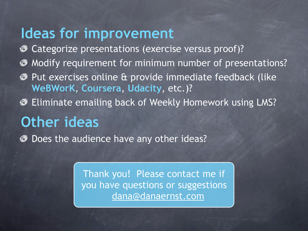 Categorize presentations (exercise versus proof...
