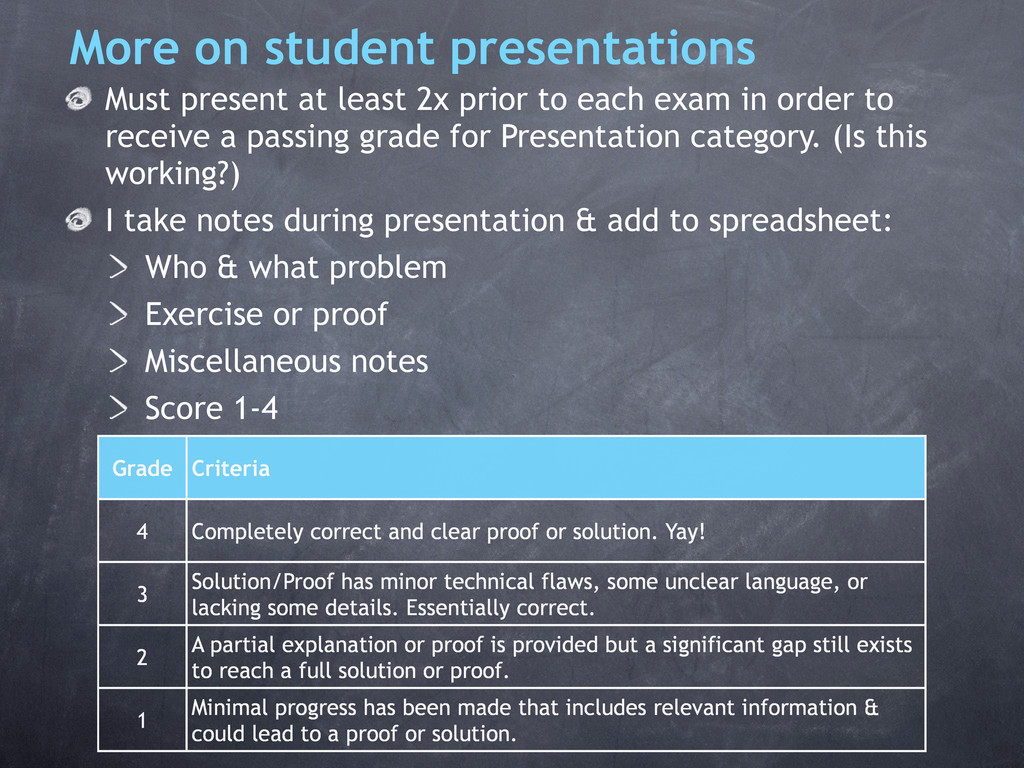 More on student presentations Must present at l...