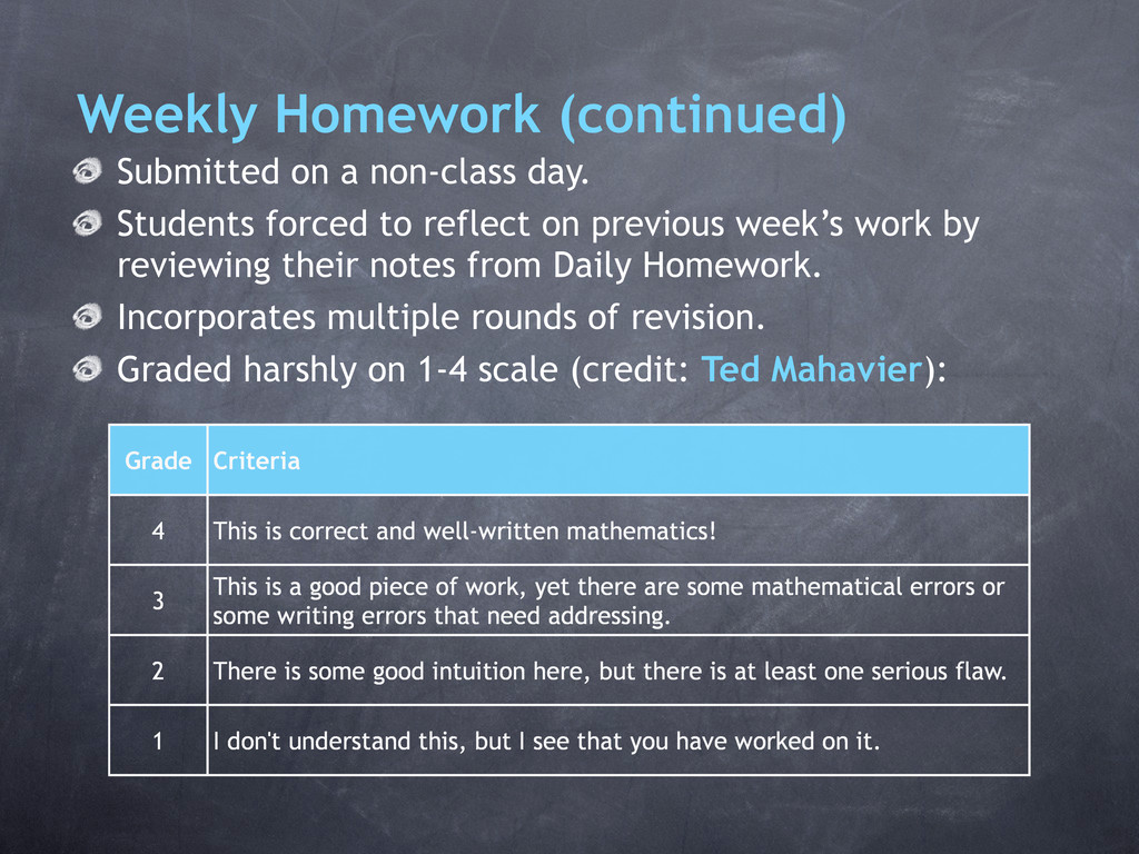 Weekly Homework (continued) Submitted on a non-...