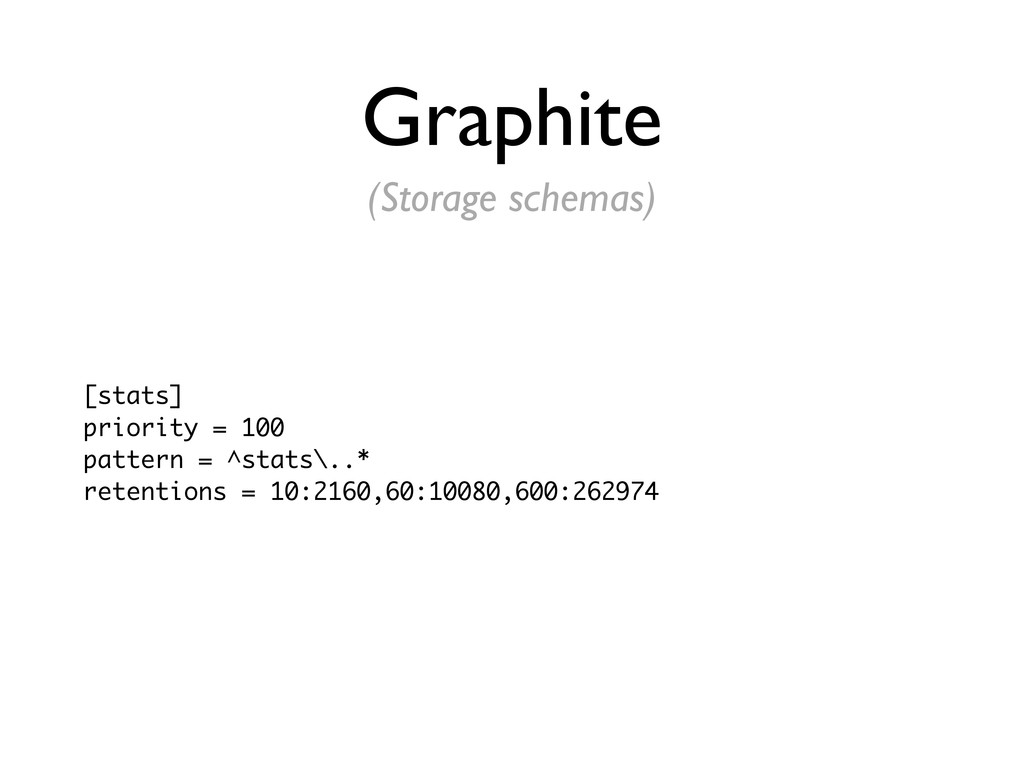 Graphite [stats] priority = 100 pattern = ^stat...