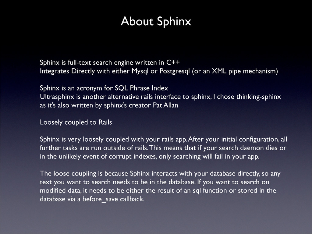 About Sphinx Sphinx is full-text search engine ...