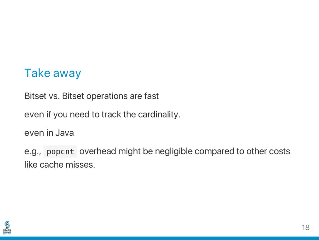 Take away Bitset vs. Bitset operations are fast...