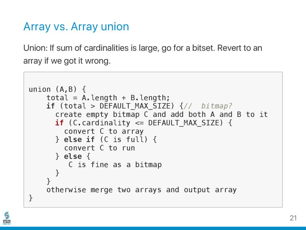 Array vs. Array union Union: If sum of cardinal...