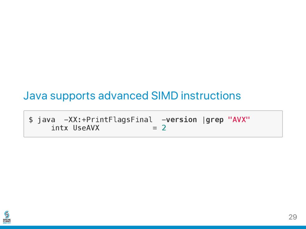 Java supports advanced SIMD instructions $ j a ...
