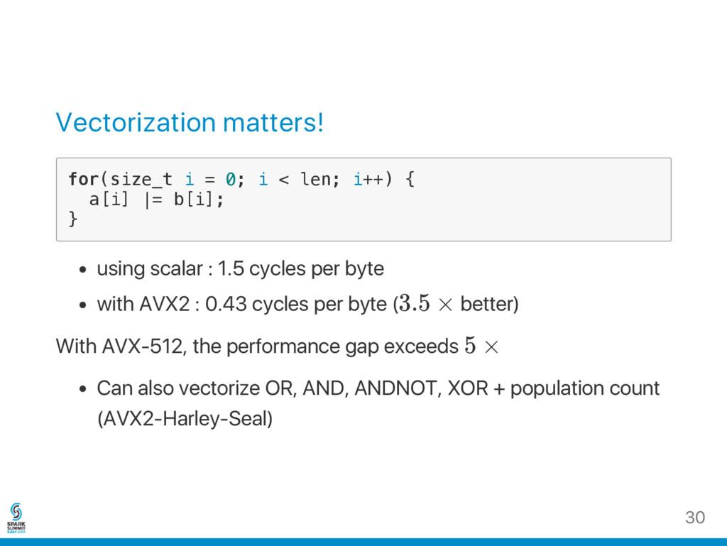 Vectorization matters! f o r ( s i z e _ t i = ...