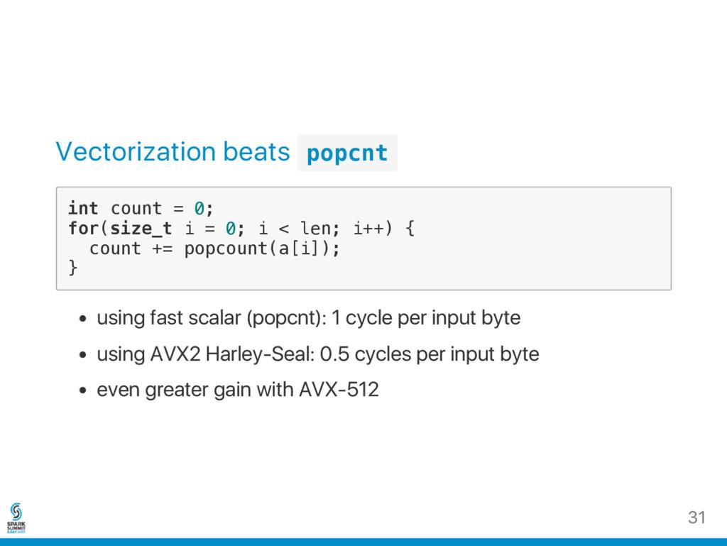 Vectorization beats p o p c n t i n t c o u n t...