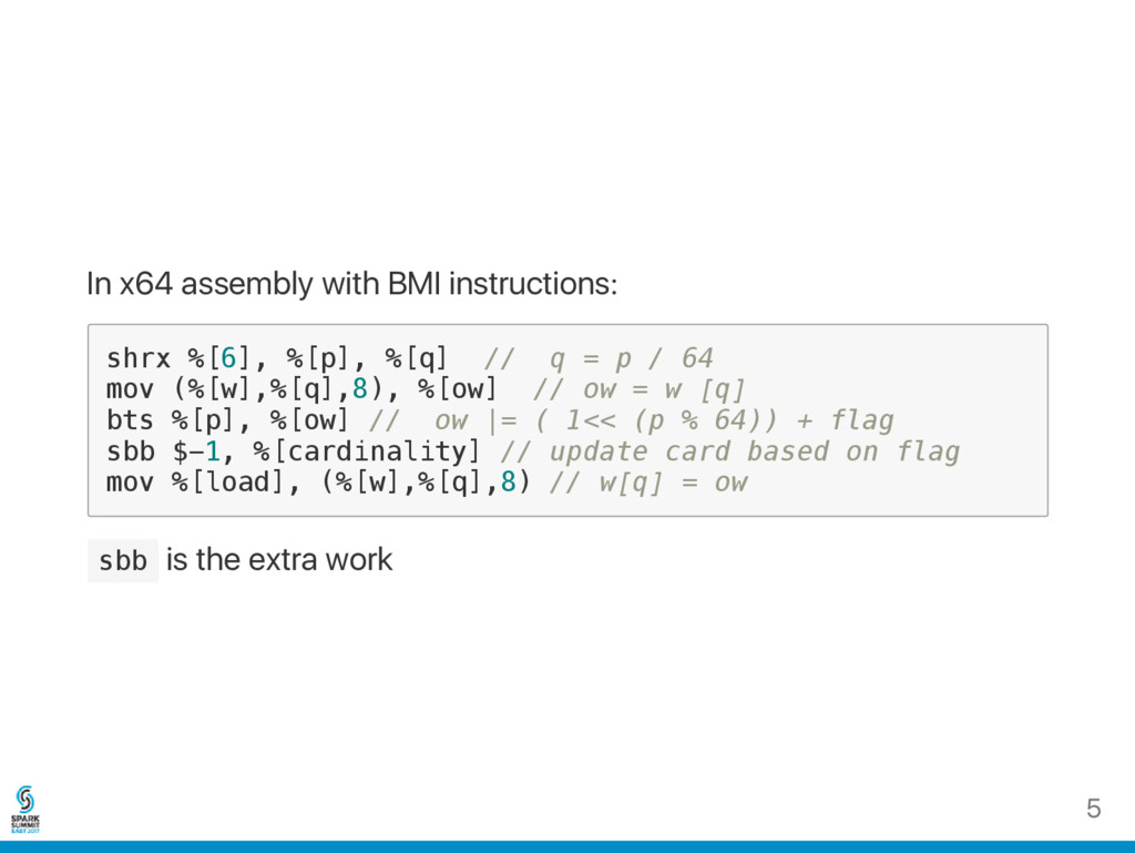 In x64 assembly with BMI instructions: s h r x ...