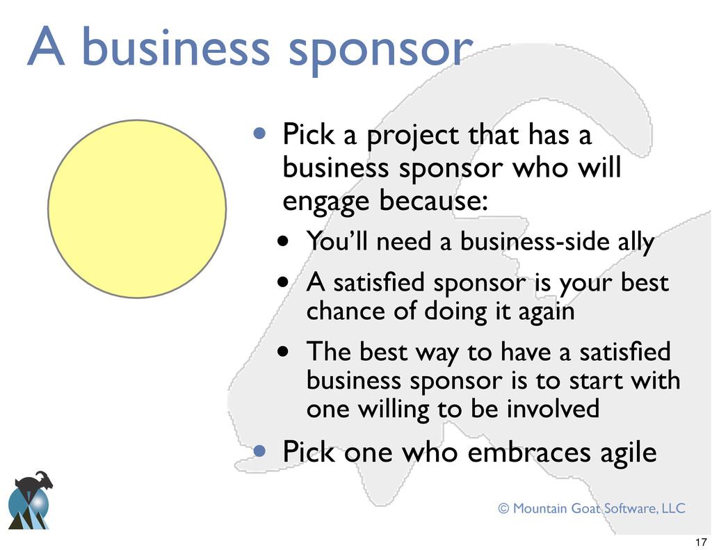 © Mountain Goat Software, LLC A business sponso...