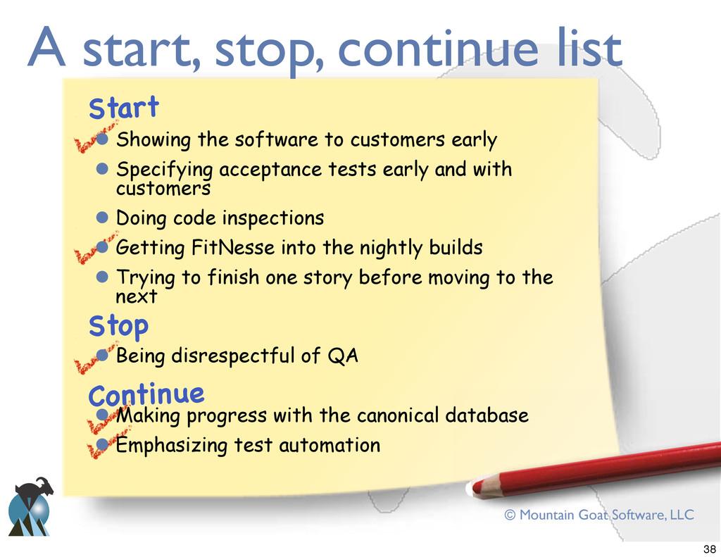 © Mountain Goat Software, LLC A start, stop, co...