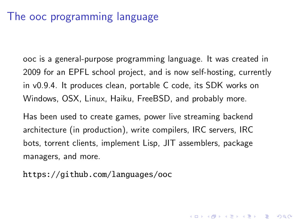 The ooc programming language ooc is a general-p...