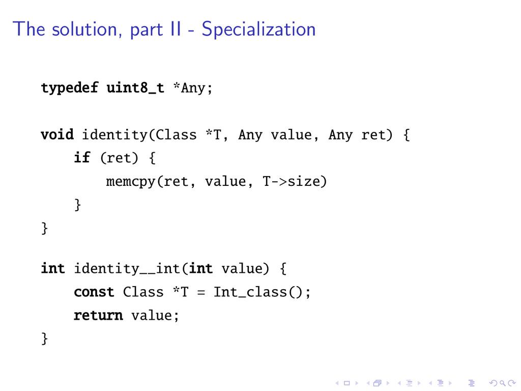 The solution, part II - Specialization typedef ...