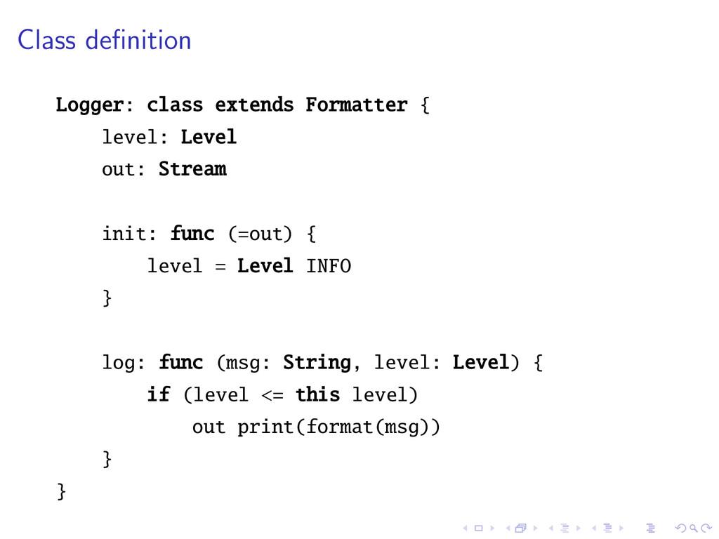 Class definition Logger: class extends Formatter...