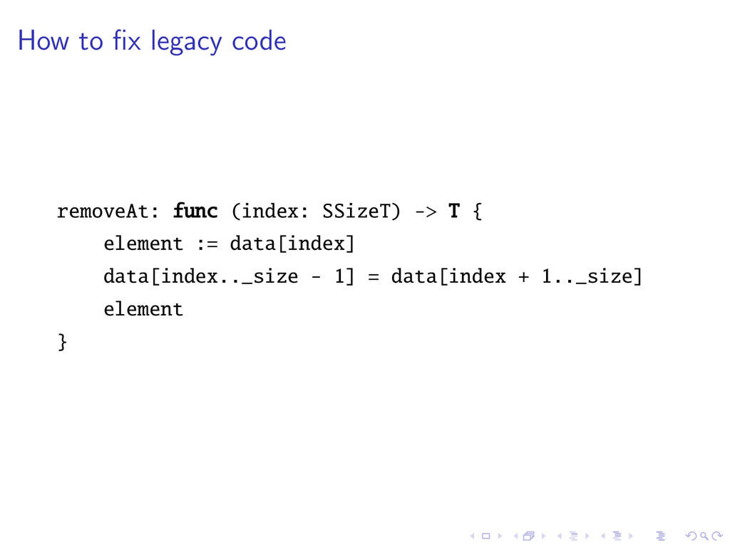 How to fix legacy code removeAt: func (index: SS...