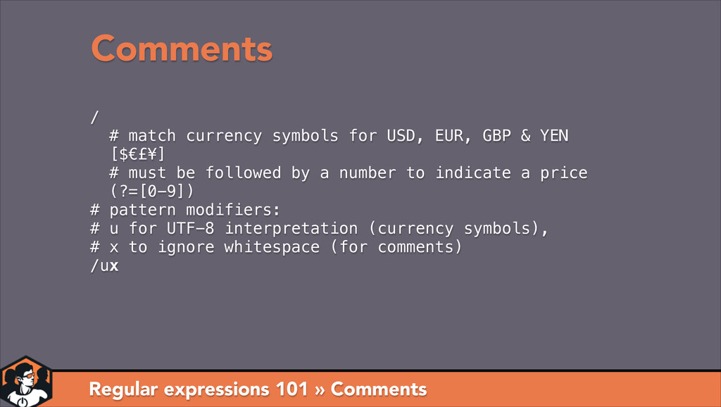 Regular expressions 101 » Comments Comments / #...