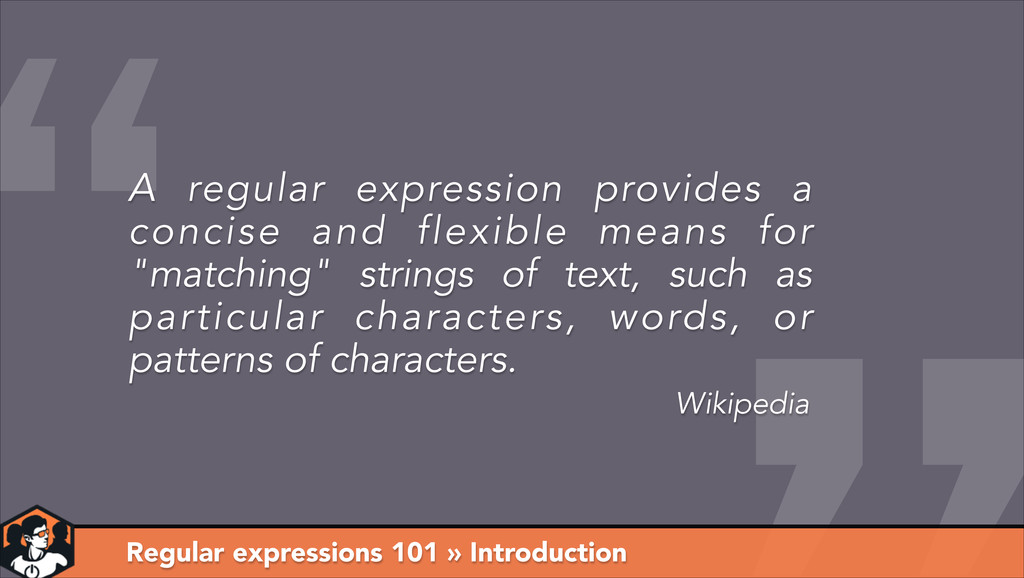 Regular expressions 101 » Introduction Wikipedi...