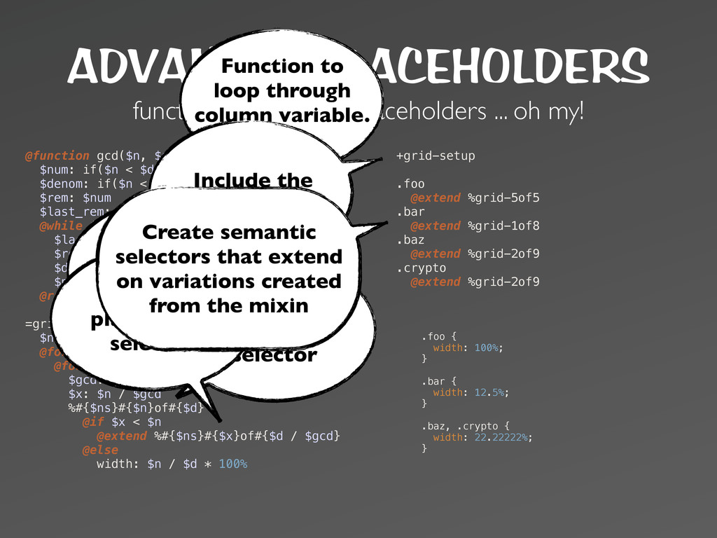 ADVANCED PLACEHOLDERS functions, mixins and pla...