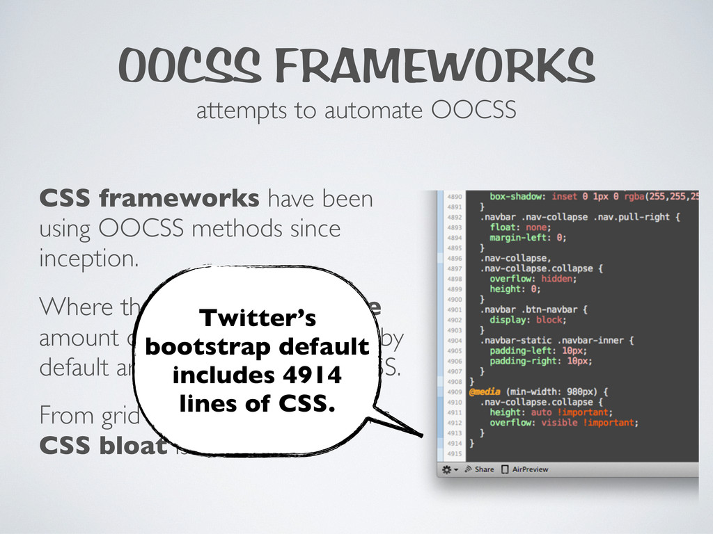 OOCSS FRAMEWORKS attempts to automate OOCSS CSS...
