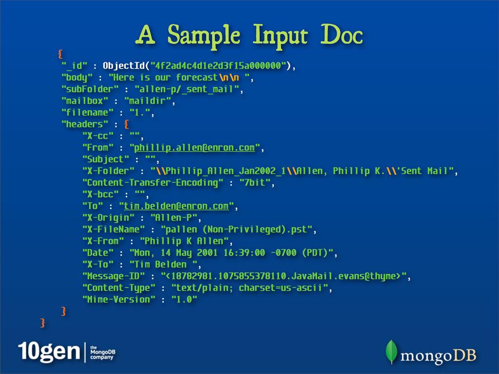 "A Sample Input Doc { ""_id"" : ObjectId(""4f2ad4c4..."