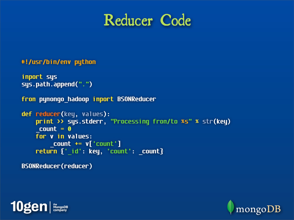 Reducer Code #!/usr/bin/env python import sys s...