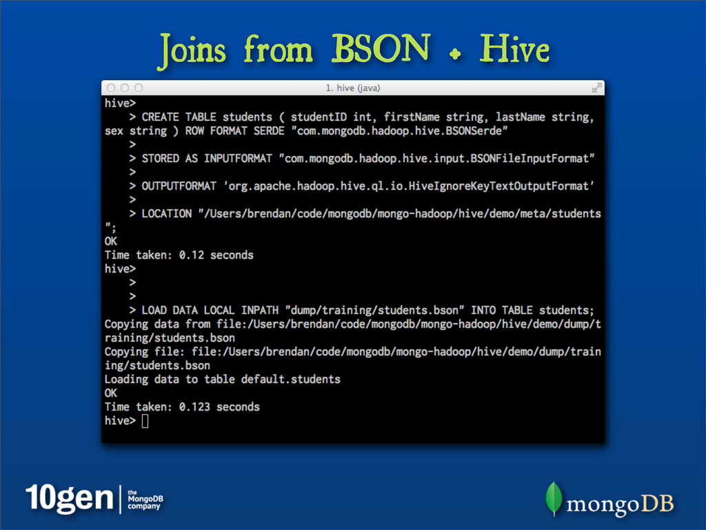 Joins from BSON + Hive
