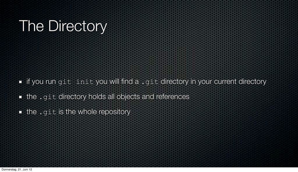 The Directory if you run git init you will find ...