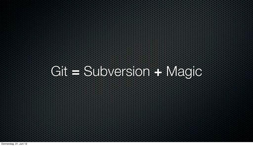 Git = Subversion + Magic Donnerstag, 21. Juni 12