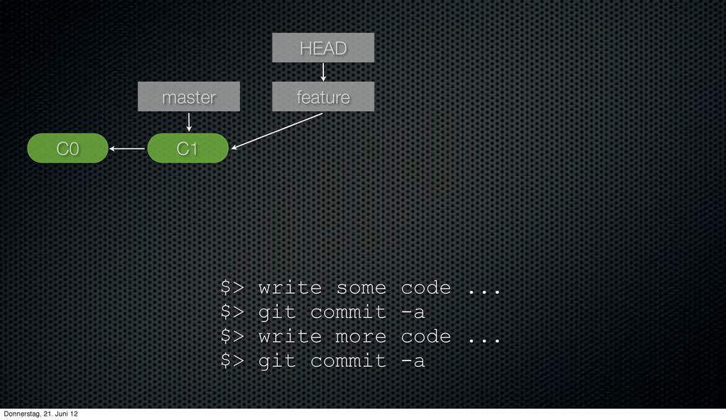 C1 HEAD master C0 feature $> write some code .....