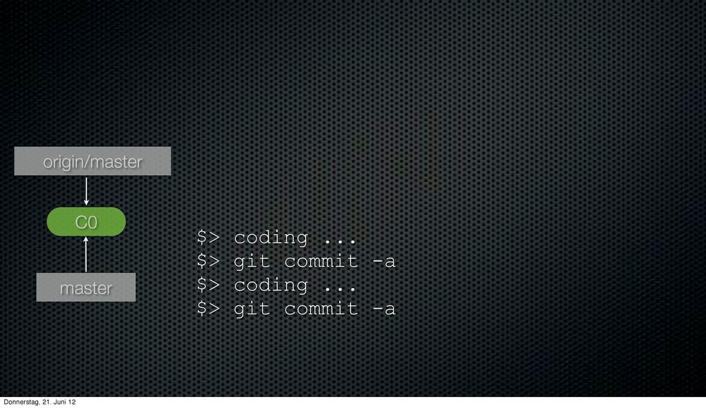 C0 master origin/master $> coding ... $> git co...