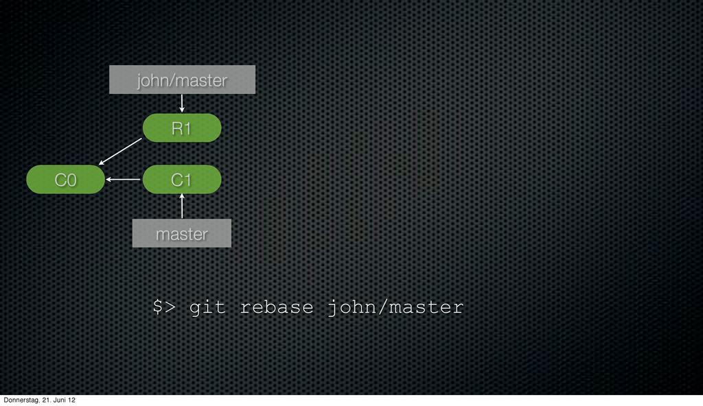 C1 john/master master C0 R1 $> git rebase john/...