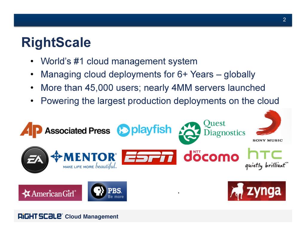 # 2 Cloud Management! # 2 • World's #1 cloud m...
