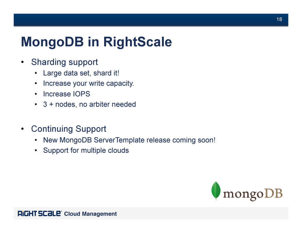 # 18 Cloud Management! # 18 MongoDB in RightSca...