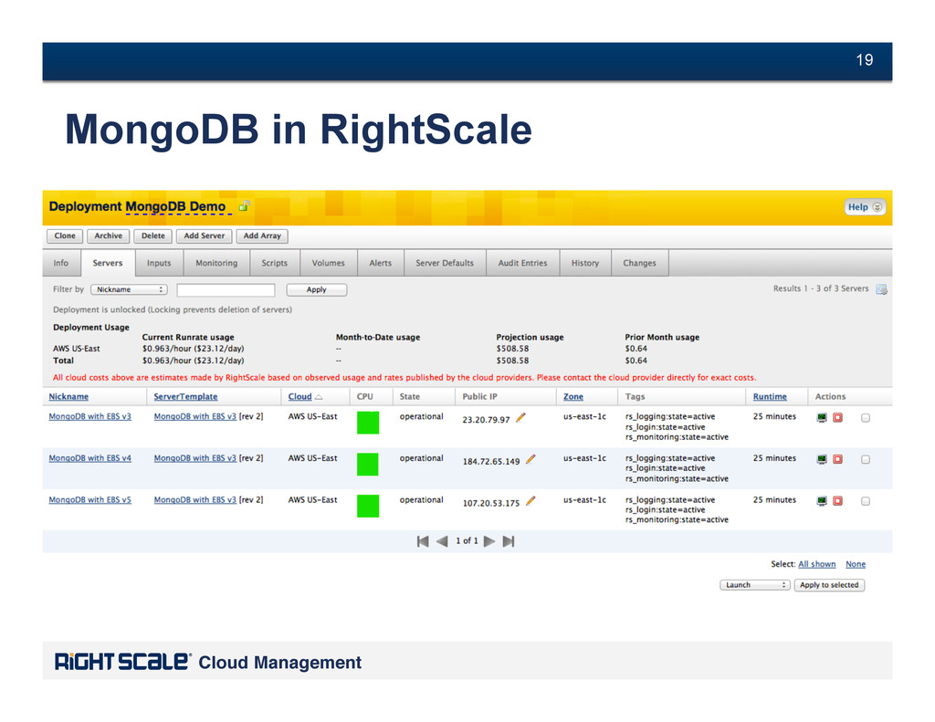 # 19 Cloud Management! # 19 MongoDB in RightSca...