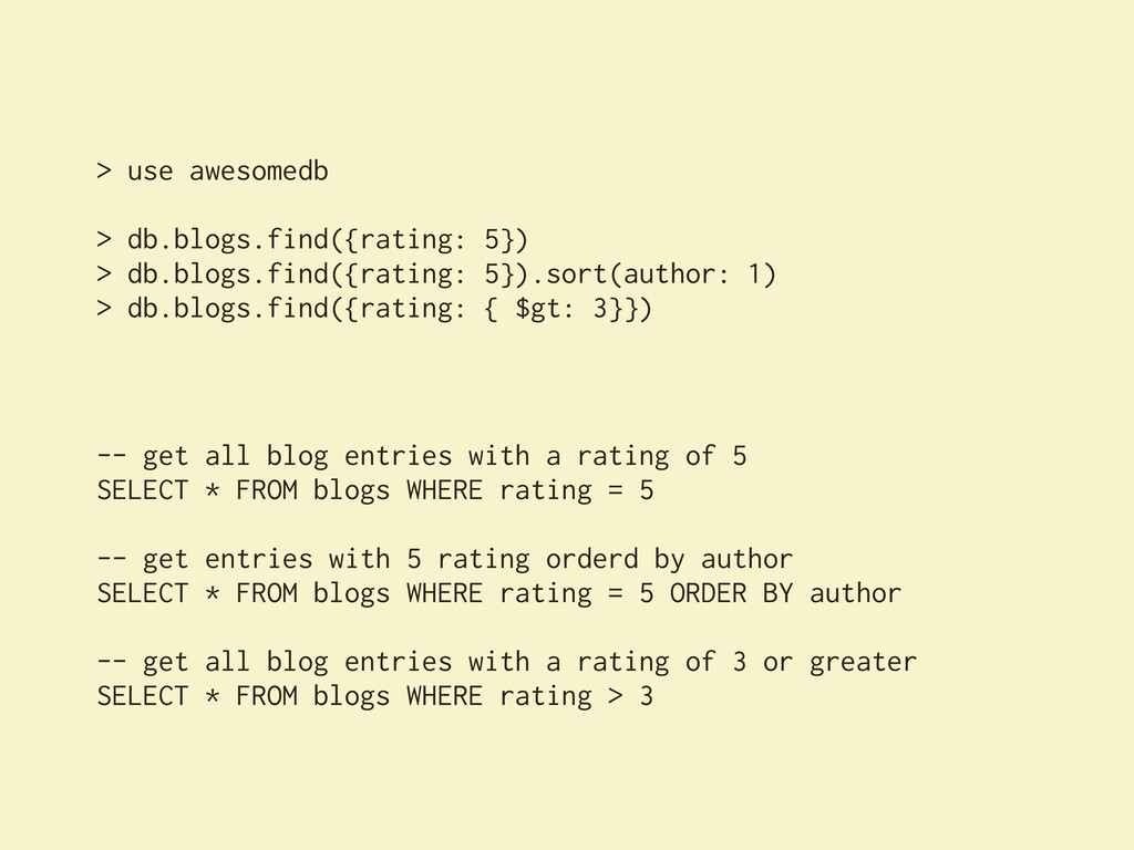 > use awesomedb > db.blogs.find({rating: 5}) > ...