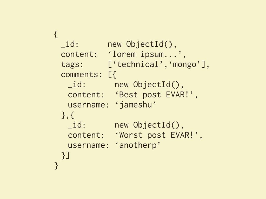 { _id: new ObjectId(), content: 'lorem ipsum......