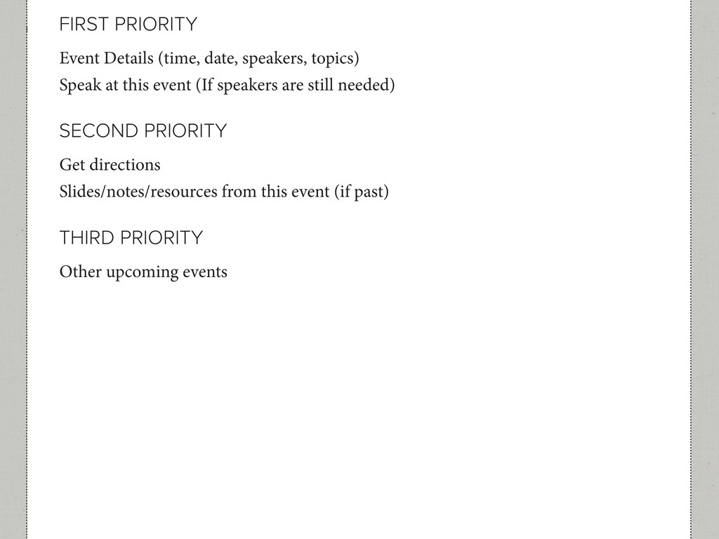 FIRST PRIORITY SECOND PRIORITY THIRD PRIORITY E...