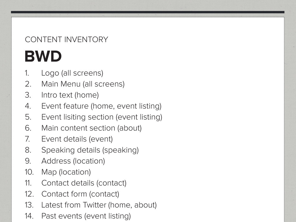 BWD CONTENT INVENTORY 1. Logo (all screens) 2. ...