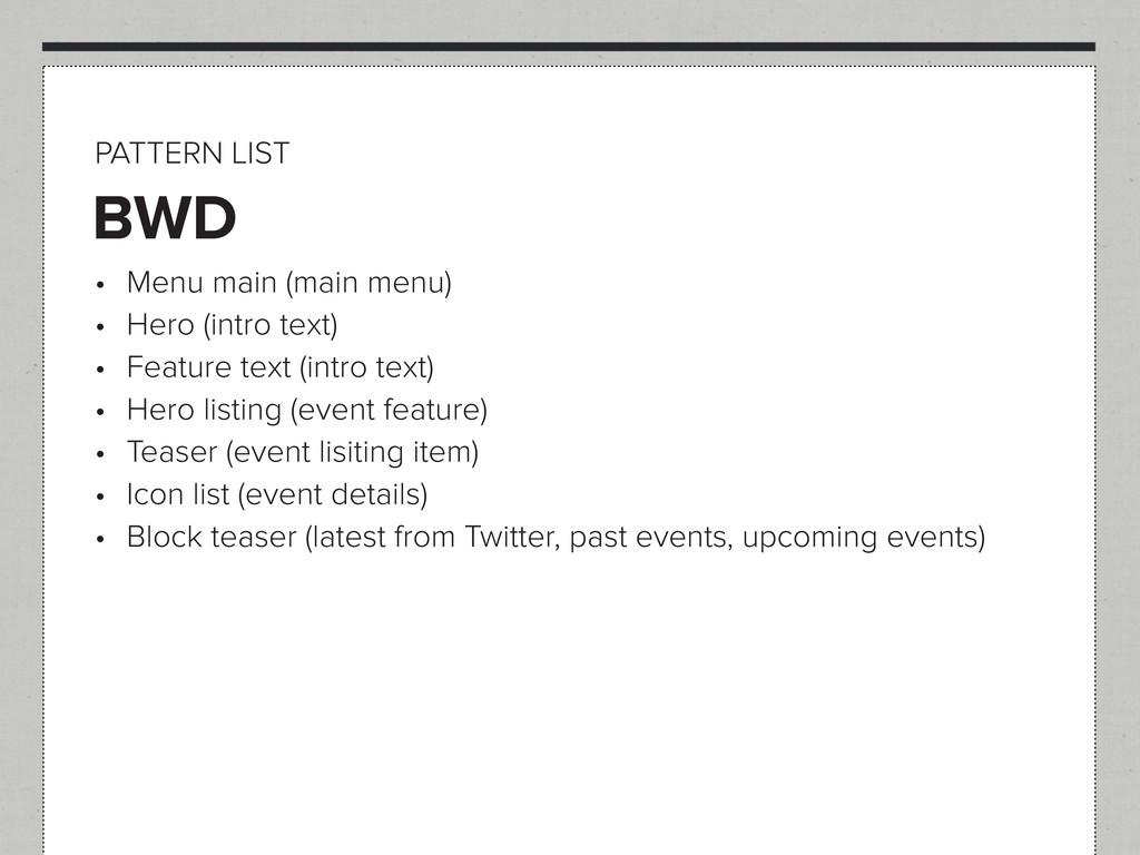 BWD PATTERN LIST t Menu main (main menu) t He...