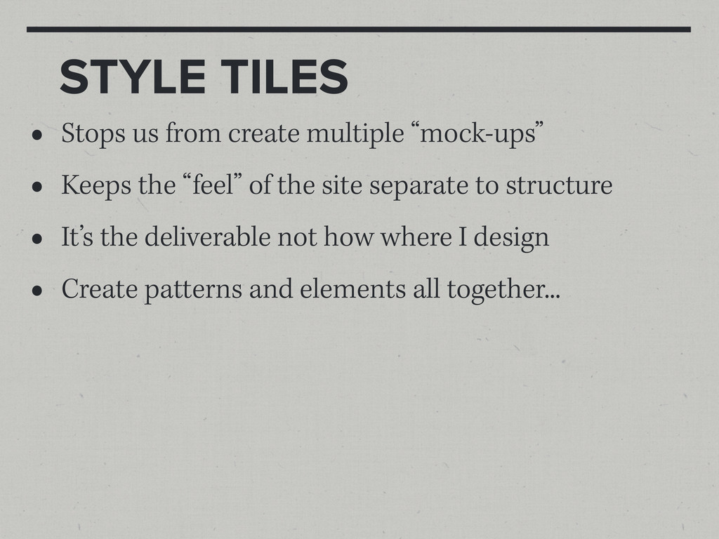"STYLE TILES • Stops us from create multiple ""mo..."