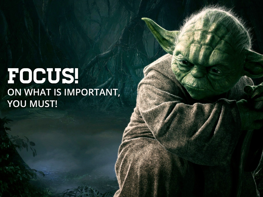 Focus! ON WHAT IS IMPORTANT, YOU MUST!